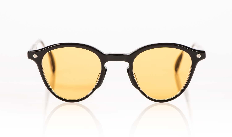 Lunetterie Generale – schwarze Acetat Panto Sonnenbrille mit Vintage gelben Gläsern - KITSCHENBERG Brillen