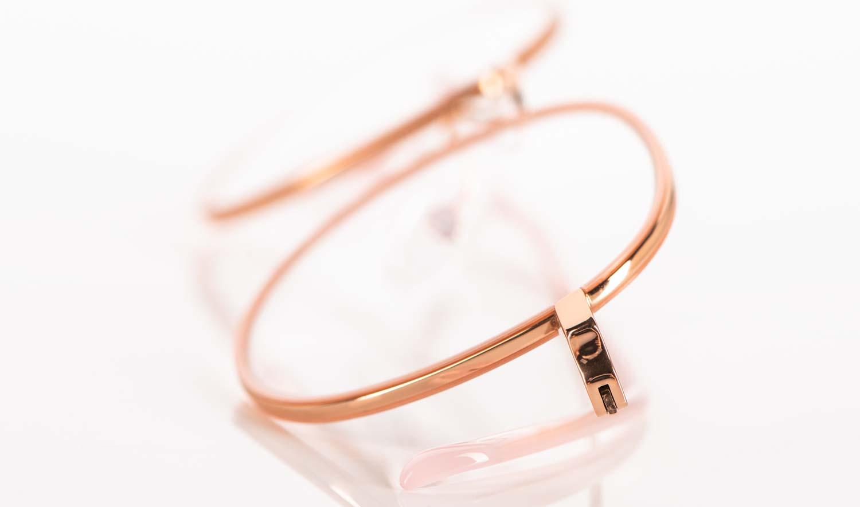 Hamburg Eyewear – rosegoldene Metallbrille mit filigranem rosefarbigen Acetatring - KITSCHENBERG Brillen