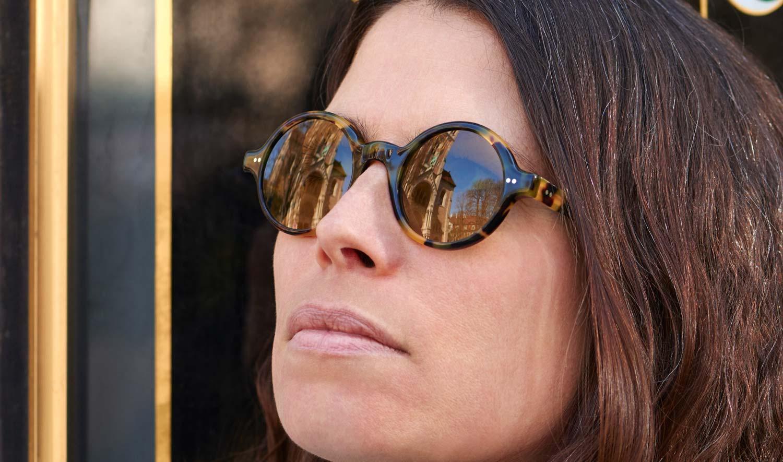 Alf – Sonnenbrille – Model Steffi - runde Acetat Brille mit braunen Gläsern in tortoise Optik – KITSCHENBERG Brillen