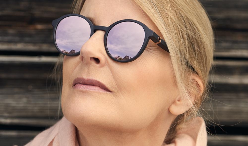 Voyou – Sonnenbrille - Model Claudia – runde, dunkelgraue 3D-gedruckte Brille aus München mit verspiegelten Gläsern - KITSCHENBERG Brillen
