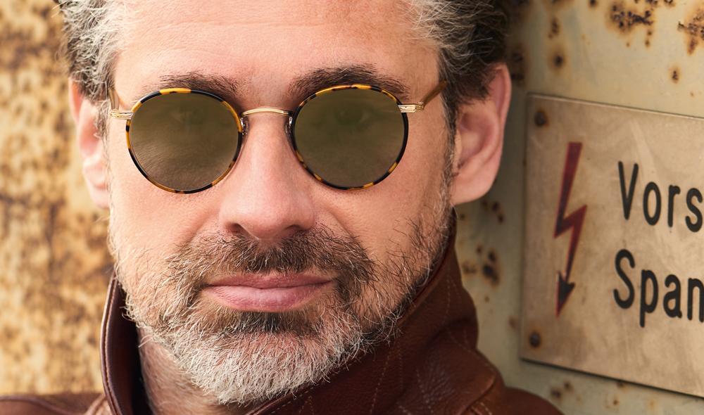 Garrett Leight – Sonnenbrille – Model Andreas – runde Panto Brille mit tortoise farbigen Windsorringen und moosgrün verspiegelten Gläsern - KITSCHENBERG Brillen
