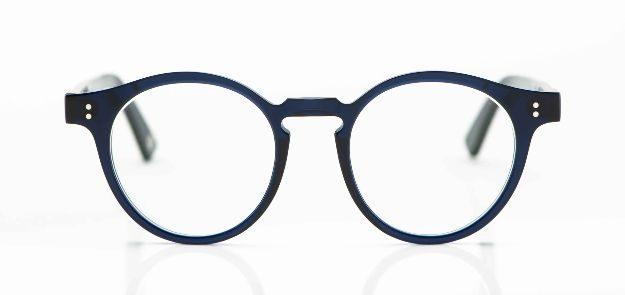 Ahlem - runde, dunkelblaue Acetat Brille mit genieteten Gelenken - KITSCHENBERG Brillen