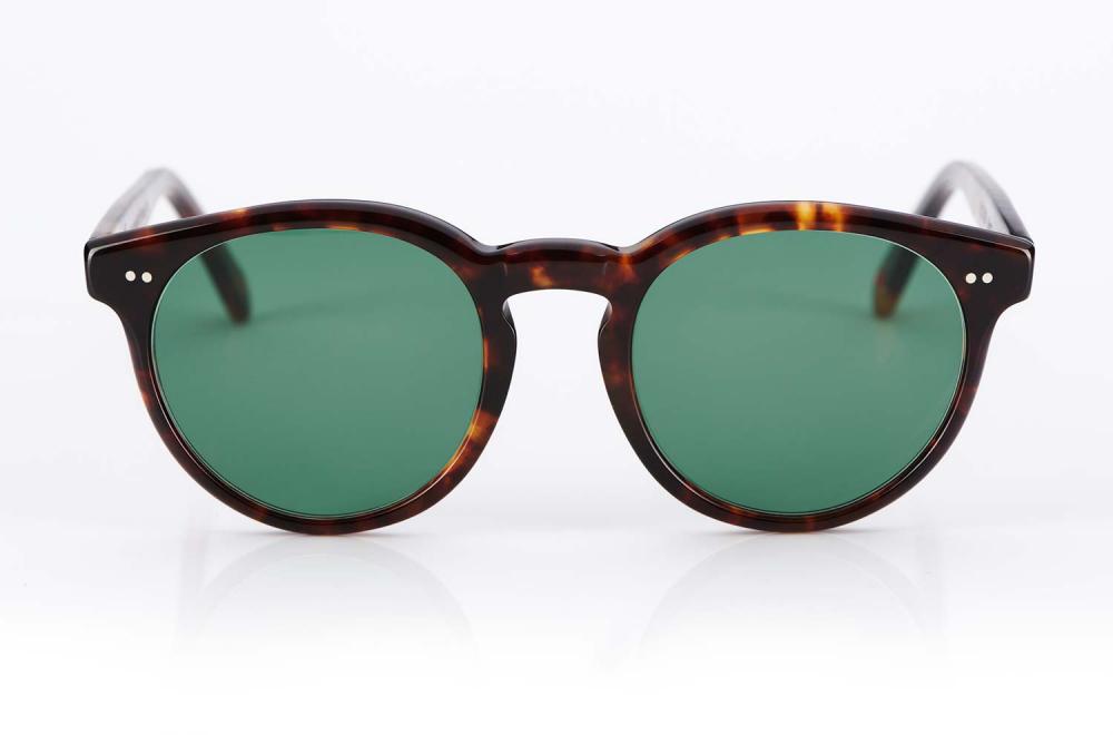 Alf – Atelier de Lunetterie Francais – Panto Brille – Havanna farbige Sonnenbrille mit grünen Gläsern im Vintage Retro Stil – KITSCHENBERG Brillen