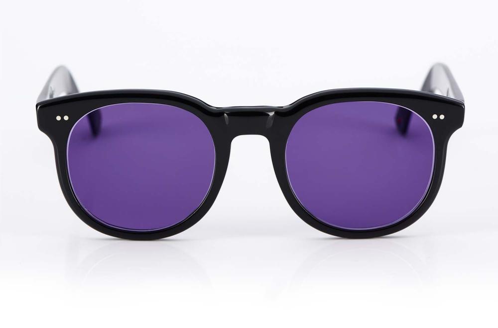Alf - Atelier de Lunetterie Francais – dicke schwarze Panto Sonnenbrille mit lila Gläsern – handgenietet – Vintage Retro – aus Frankreich - KITSCHENBERG Brillen
