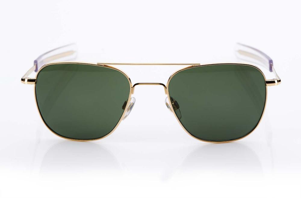 AO – American Optical – Aviator - goldene Pilotenbrille mit grünen Gläsern – Original Retro – Sonnenbrille - KITSCHENBERG Brillen