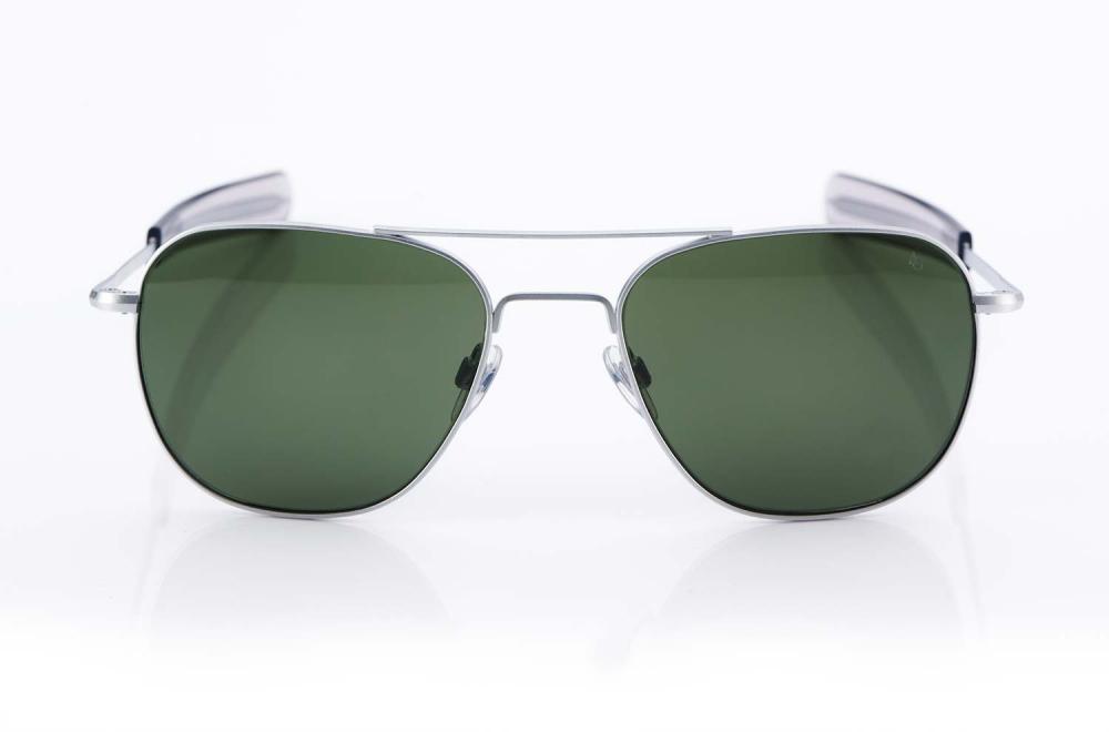 AO – American Optical – Aviator - silberne Pilotenbrille – Original Retro – grüne Gläser – Sonnenbrille - KITSCHENBERG Brillen