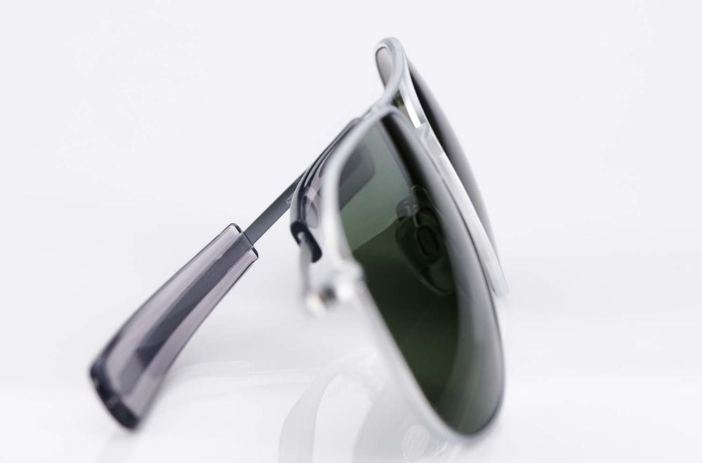 AO – American Optical – silberne Piloten Sonnenbrille mit grünen Gläsern – Original Retro - Flight – Aviator - KITSCHENBERG Brillen