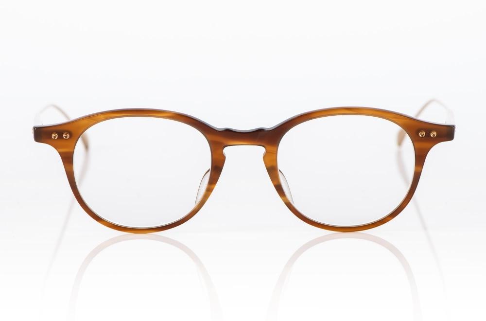 Dita – blond havanna farbige Acetat Panto Brille mit goldenen Bügeln - KITSCHENBERG Brillen