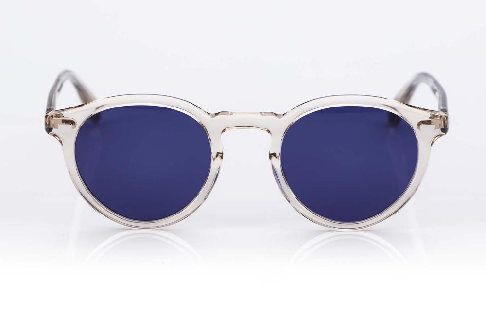 Eyevan – Transparente Panto Kunststoff Sonnenbrille mit navy blauen Gläsern - made in Japan – KITSCHENBERG Brillen