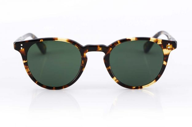 Garrett Leight – runde Panto Kunststoffbrille – Sonnenbrille mit grünen Gläsern - tortoise – Vintage – KITSCHENBERG Brillen