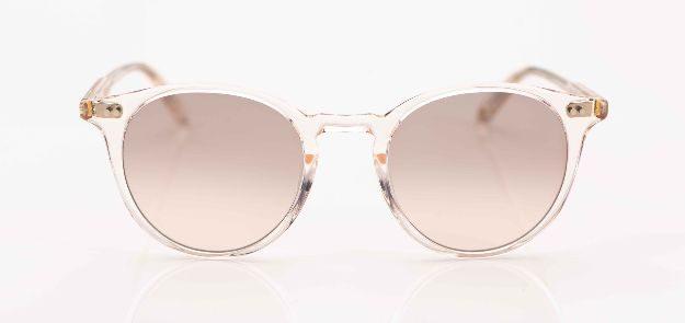 Garrett Leight - Sonnenbrille - runde, roséfarbige Acetatbrille mit graurosé verlaufenden Gläsern - KITSCHENBERG Brillen