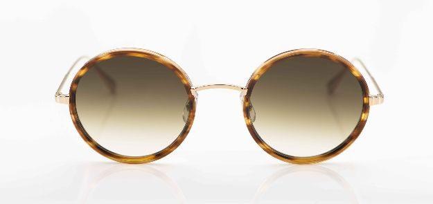 Garrett Leight - Sonnenbrille - runde, goldene Metallbrille mit Acetatringen und verlaufenden Gläsern - KITSCHENBERG Brillen