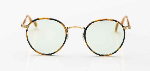 Garrett Leight - Pantobrille aus ziseliertem Metall mit tortoisefarbigen Windsorringen - KITSCHENBERG Brillen