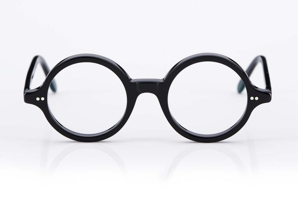 Kitschenberg Acetat – runde Vintage Kunststoffbrille im Retro Design - schwarz - KITSCHENBERG Brillen