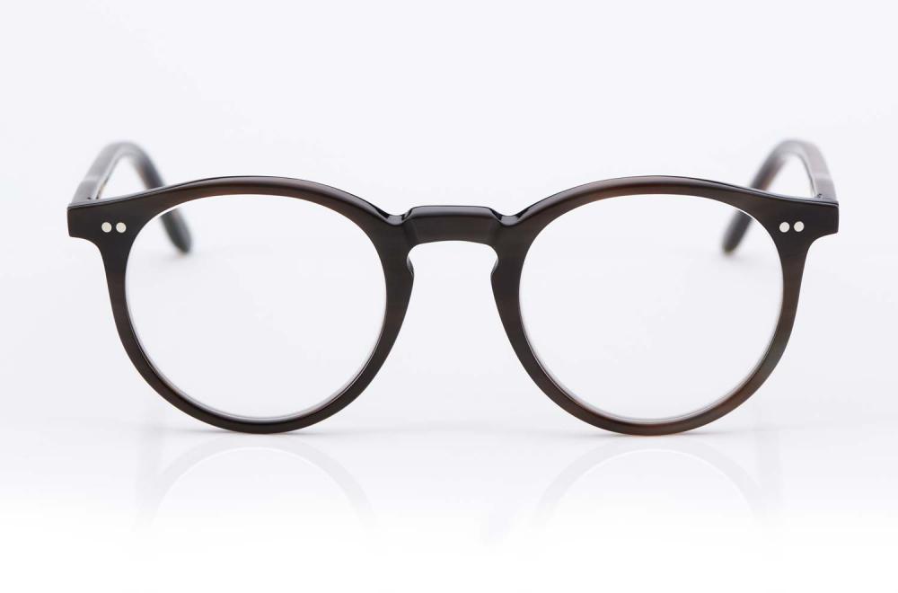 Kitschenberg Horn – runde Natur Büffelhorn Brille mit genieteten Scharnieren im Vintage Retro Stil – gefertigt in Deutschland - KITSCHENBERG Brillen