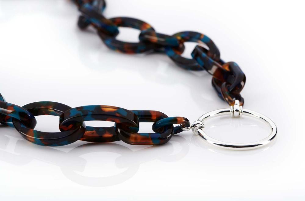 La Loop – Original Brillenkette aus LA – Acetat Kunststoffglieder – silberner Ring - KITSCHENBERG Brillen