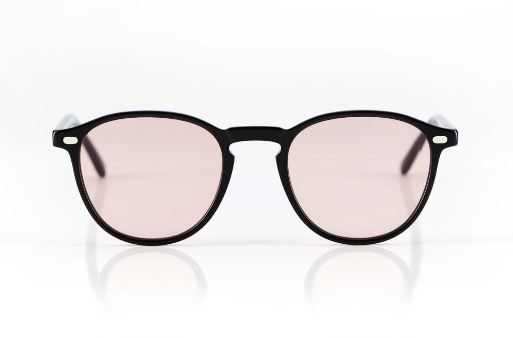 Lazare Studio – originale Retro Vintage Brille – Panto – schwarzes Acetat – rose farbige Gläser – Sonnenbrille – KITSCHENBERG Brillen