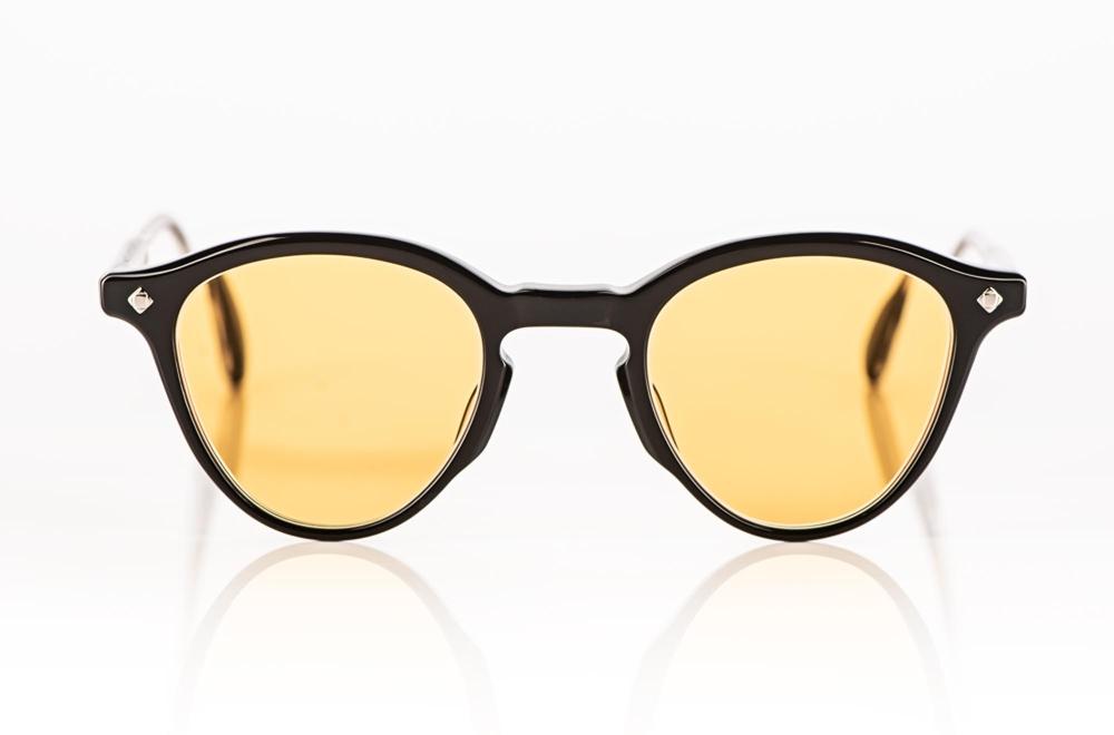 Lunetterie Générale – Sonnenbrille – schwarze Acetat Panto Brille mit gelben Gläsern - KITSCHENBERG Brillen
