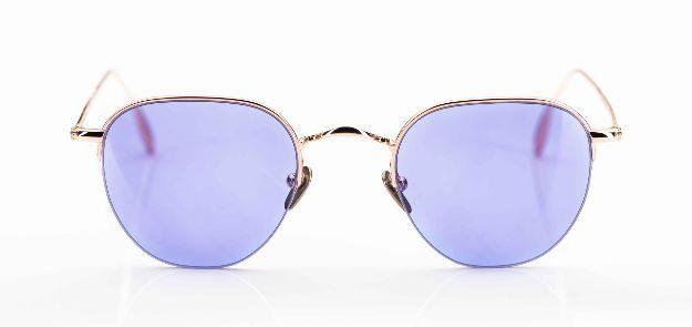 Massada - Sonnenbrille - goldene Pantobrille mit lila Gläsern - KITSCHENBERG Brillen