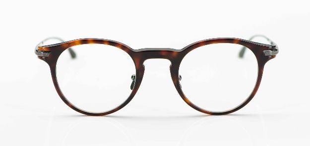 Masunaga - havannafarbige Acetat Pantobrille mit Titanbügeln - KITSCHENBERG Brillen