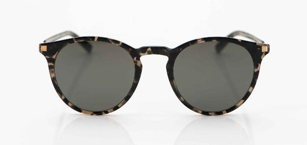 Mykita - Sonnenbrille - runde, schwarz gesprenkelte Acetat Brille mit grauen Gläsern - KITSCHENBERG Brillen