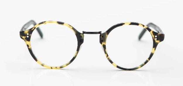Oliver Peoples - tortoisefarbige runde Acetatbrille mit Metallbrücke - KITSCHENBERG Brillen