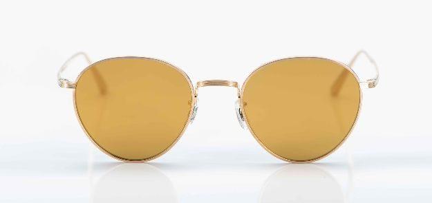 Oliver Peoples - Sonnenbrille - goldene Metall Pantobrille mit gold verspiegelten Gläsern- KITSCHENBERG Brillen