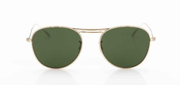 Oliver Peoples - Sonnenbrille - goldene Metallbrille mit grünen Gläsern - KITSCHENBERG Brillen
