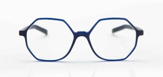 Oscar Magnuson - matte, dunkelblaue achteckige Acetatbrille - KITSCHENBERG Brillen