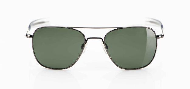 Randolph - Sonnenbrille - Original Pilotenbrille silbernes Gestell mit grünen Gläsern - KITSCHENBERG Brillen