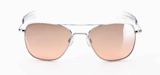 Randolph - Sonnenbrille - Aviatorbrille aus den USA, silbernes Gestell mit rosé verspiegelten Gläsern - KITSCHENBERG Brillen