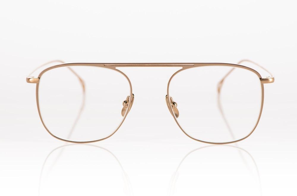 Yellows Plus – dünnrandige goldene Titan Brille mit oben angesetztem Steg - KITSCHENBERG Brillen
