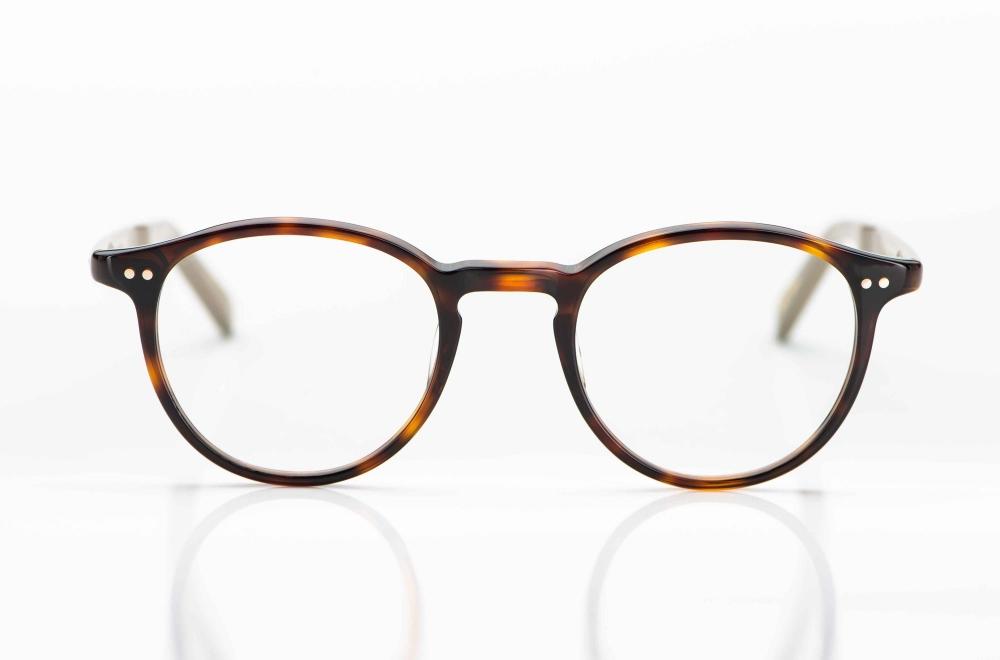 Yellows Plus – braun gesprenkelte Vintage Brille aus Acetat mit Nieten hergestellt in Japan - KITSCHENBERG Brillen
