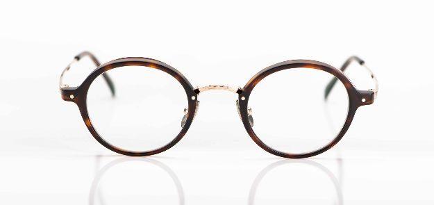 Yellows Plus - runde, braune Acetat Brille mit goldenem Metall - KITSCHENBERG Brillen