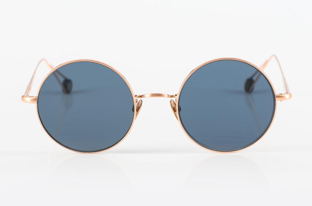 Ahlem – Runde Sonnenbrille mit blauen Gläsern in mattem rose gold - KITSCHENBERG Brillen
