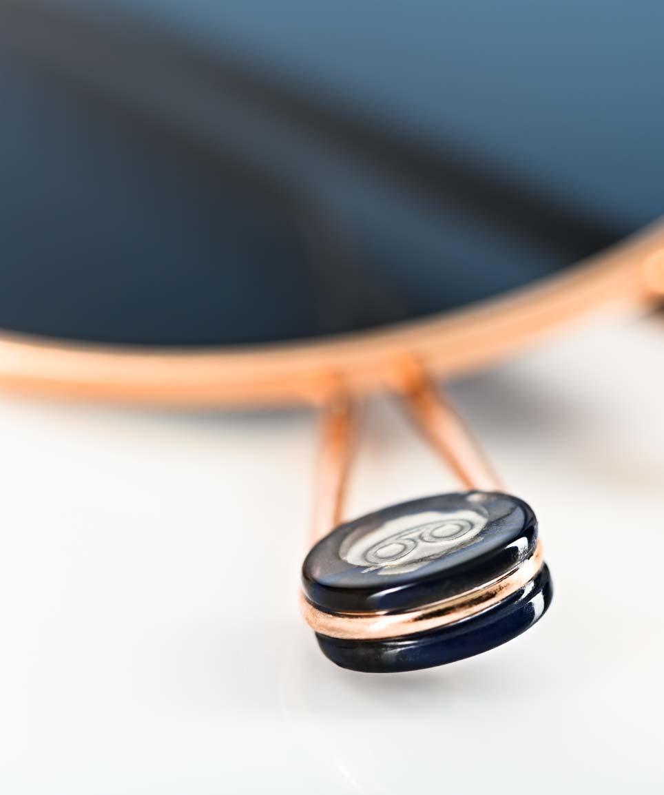 Ahlem – goldene runde Sonnenbrille mit blauem Glas - KITSCHENBERG Brillen