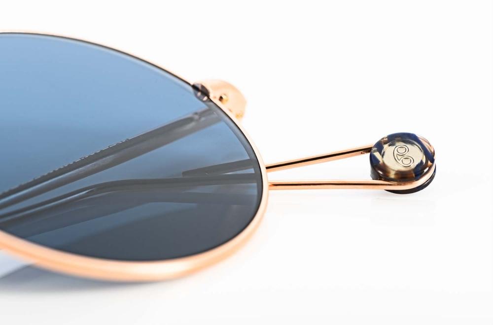 Ahlem – runde rosegoldenen Sonnenbrille mit blauen Gläsern - KITSCHENBERG Brillen