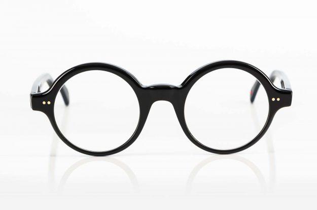 Alf – schwarze runde Acetat Brille hergestellt in Frankreich - KITSCHENBERG Brillen