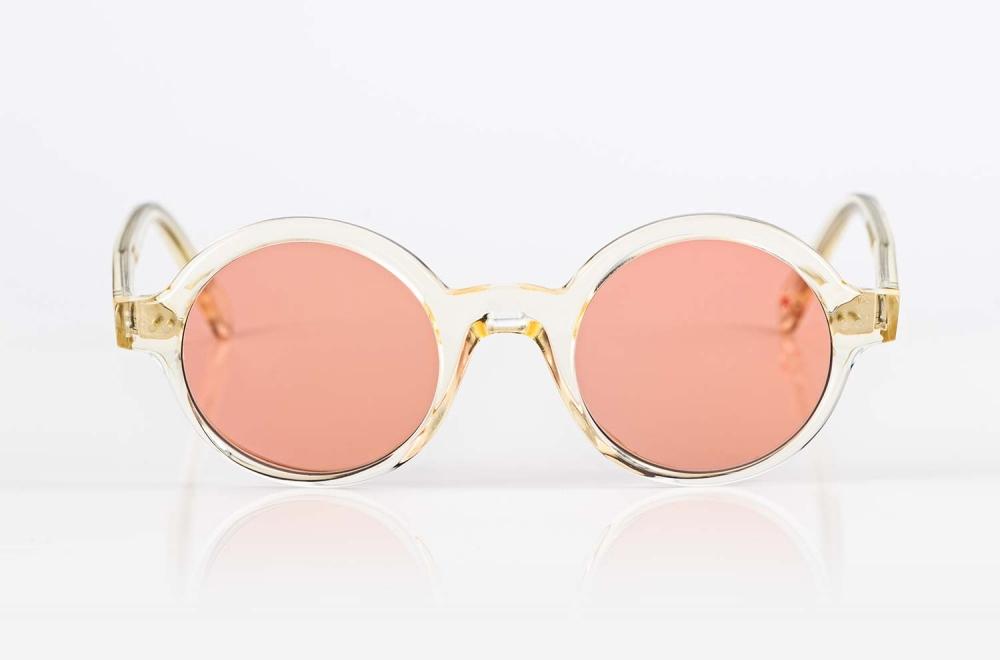 Alf – champagner farbige runde Sonnenbrille mit rose farbigen Gläsern - KITSCHENBERG Brillen