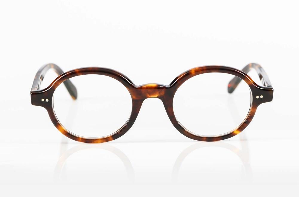 Alf – runde braune Kunststoffbrille mit genietetem Gelenk - KITSCHENBERG Brillen