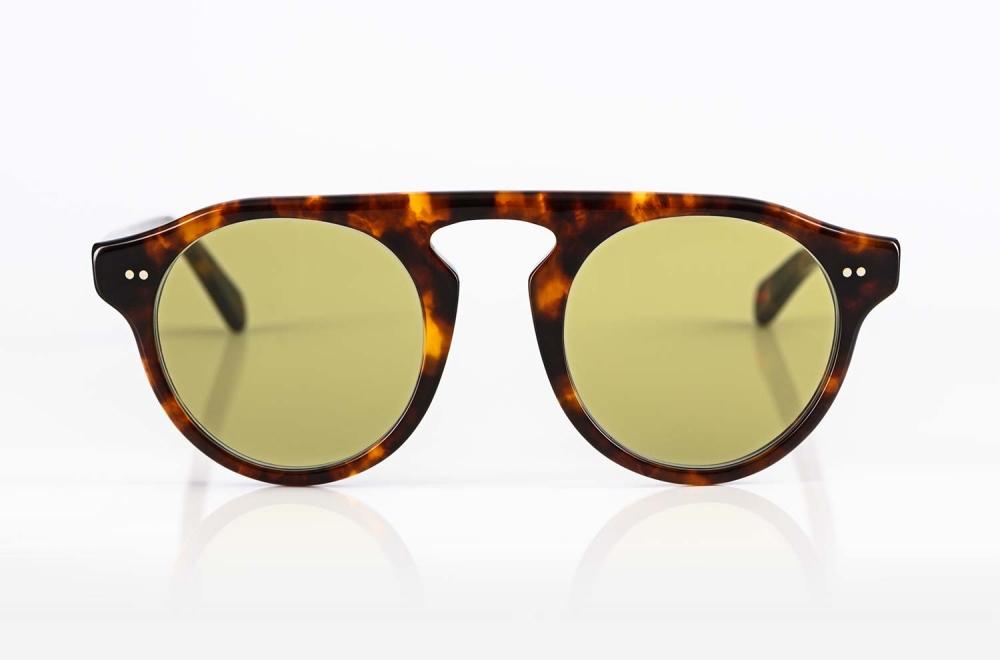 Alf – tortiose farbige Acetat Sonnenbrille mir grünen Gläsern - KITSCHENBERG Brillen