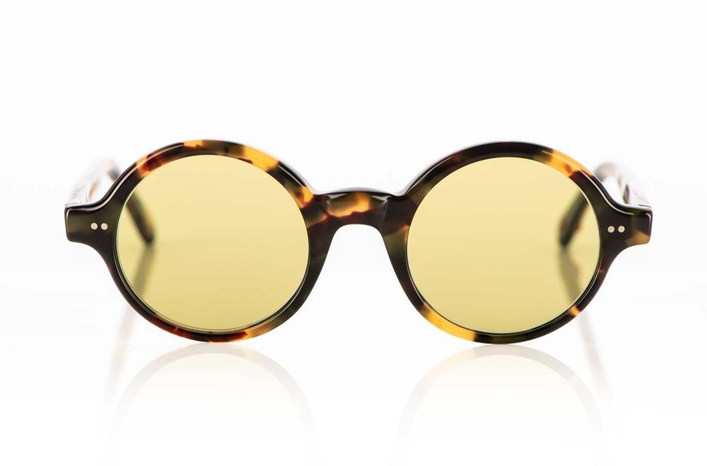 Alf – Sonnenbrille – runde tortoise farbige Acetatbrille mit grünen Gläsern - KITSCHENBERG Brillen
