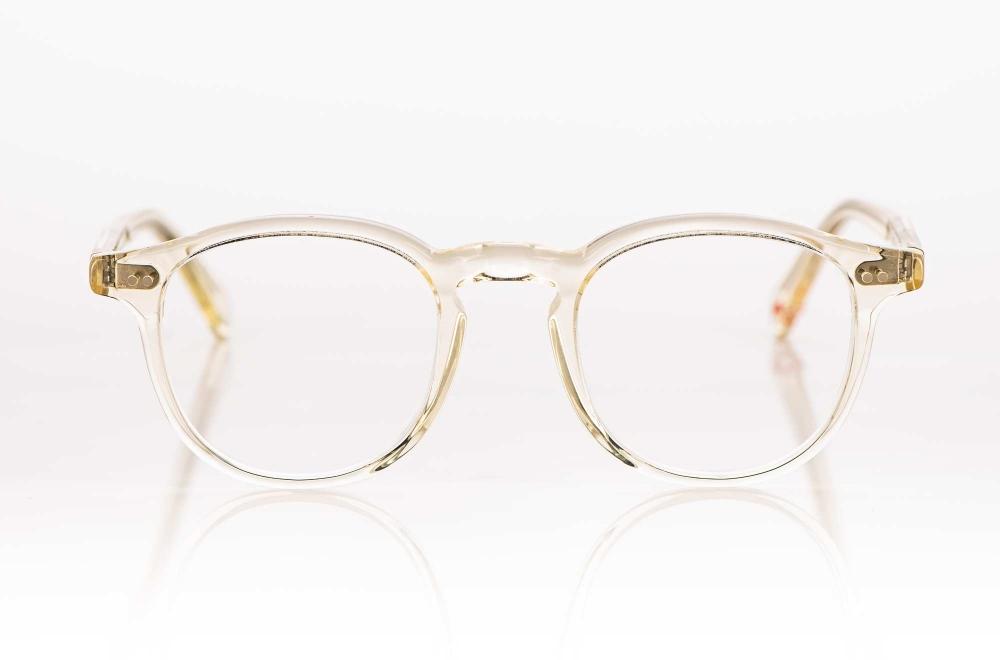 Alf – champagner transparente Kunststoffbrille mit genieteten Gelenken - KITSCHENBERG Brillen