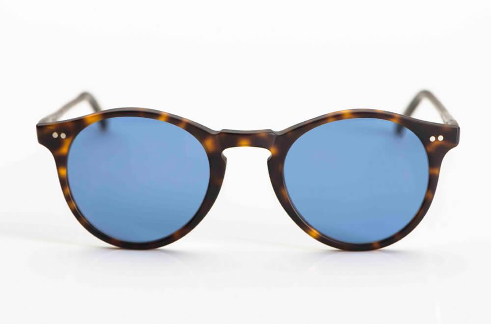 David Marc - Sonnenbrille – Panto Brille aus tortoise farbigem Kunststoff mit genieteten Gelenken und blauen Gläsern - KITSCHENBERG Brillen