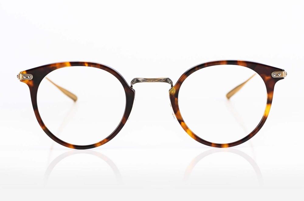 Eyevan – japanisch Panto Brille aus eine Titan Acetat Kombination in braun gold - KITSCHENBERG Brillen