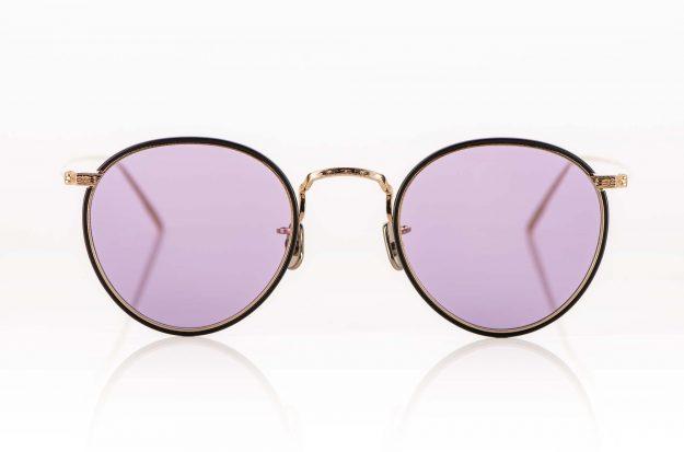 Eyevan – Sonnenbrille – Metall Panto mit dünnem, braunem Windsorring und hell lilafarbigen Gläsern - KITSCHENBERG Brillen