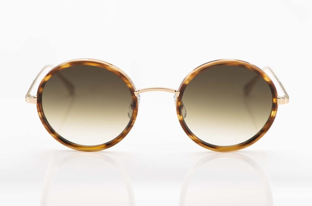 Garrett Leight – Sonnenbrille – runde Metallfassung mit havannafarbigem Acetatring und verlaufenden Gläsern – KITSCHENBERG Brillen