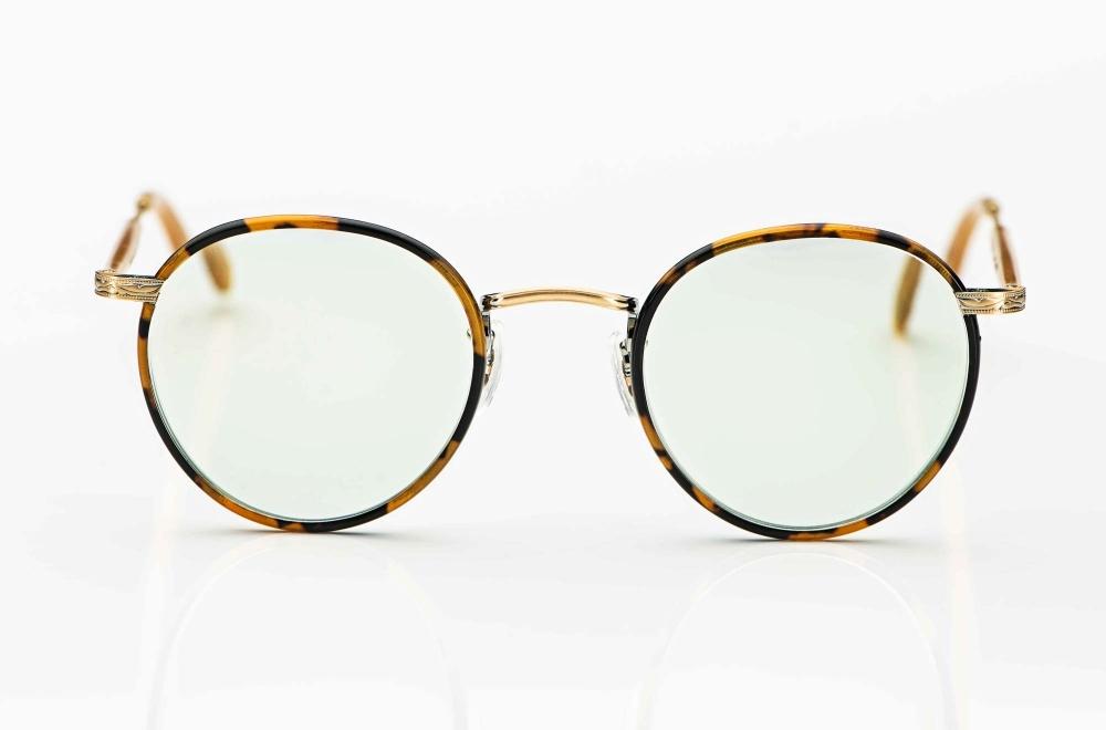 Garrett Leight – Sonnenbrille – Metall Panto mit einem lebhaft gesprenkelten Windsorring und hellgrün verspiegelten Gläsern – KITSCHENBERG Brillen