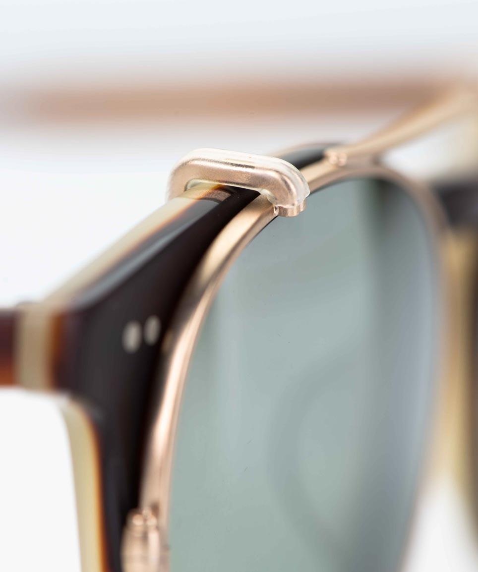 Garrett Leight – Sonnenbrille - Kunststoffbrille mit aufgesetztem Sonnenclip mit grünen Gläsern – KITSCHENBERG Brillen