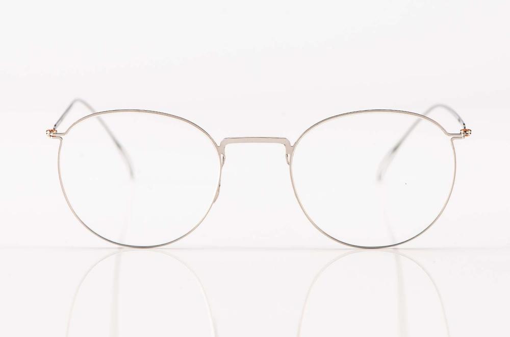 Haffmans & Neumeister – matt silbrige Panto Brille aus Edelstahl – KITSCHENBERG Brillen